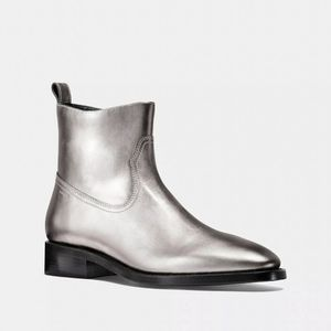 Coach Silver Metallic Western Zip Boots Men Size 7 G2261 Chelsea Rare MSRP $495 for Sale in Austell, GA