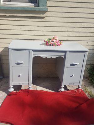 """Wood desk vanity light grey painted 45x28xD""""16 for Sale in Ontario, CA"""