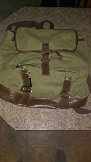 Olive green and brown leather backpack for Sale in Austin, TX