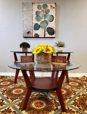 Glass Top, Coffee Table And End Table Set, Rug, And Picture! for Sale in Houston, TX