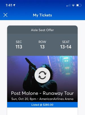 Post Malone Concert MIA Tickets (2) for Sale in Hollywood, FL