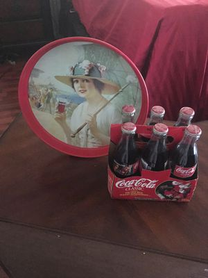 Antique coca- cola tray and vintage bottle of real coke for Sale in Fresno, CA