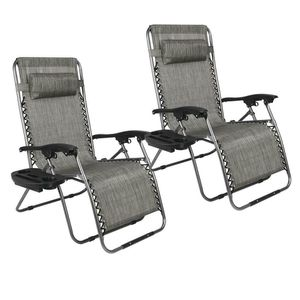 2x Zero Gravity Chair Lounge Patio Chairs Lawn /w Cup Holder for Camping Fishing for Sale in Union City, CA