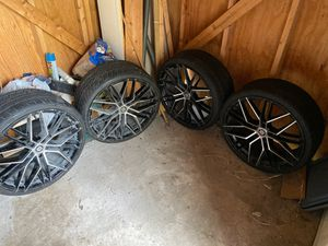 5 Lug Universal 20 in. Rims with Tires for Sale in San Antonio, TX