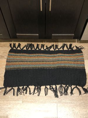 Brown teal and black handmade rug or door shower bath mat for Sale in Dallas, TX
