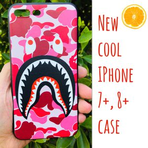 New cool iphone 7+ or iphone 8+ PLUS case rubber pink bape aape hypebeast hype swag men's women's for Sale in San Bernardino, CA