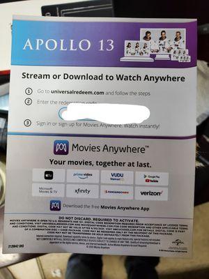 Apollo 13 4k Digital Movie for Sale in Los Angeles, CA