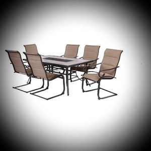 New Hampton Bay Crestridge 7-Piece Padded Sling Outdoor Dining Set in Putty ☆Retail Price:$697 +Tax☆ for Sale in Phoenix, AZ