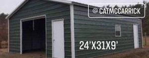 New 24' x 31' x 9' Steel Garage Building for Sale in Lowell, MA