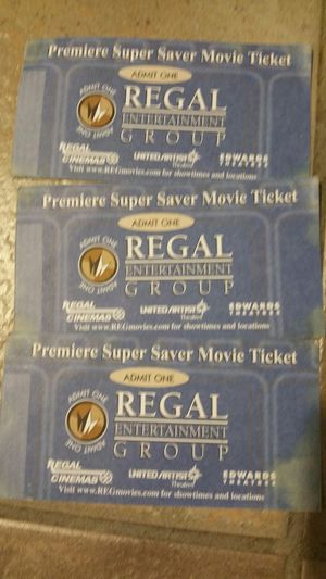 3 Admission Movie tickets Regal Cinemas for Sale in Federal Way, WA