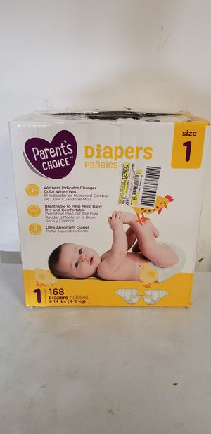 Parents choice diapers size 1 count 168 for Sale in Riverside, CA