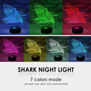 Wolight 3D Illusion Light 7 Colors Changing Table Desk Deco Night Light (Shark and Wolf) for Sale in Corona, CA
