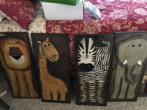 Set of 4 metal animal wall decor. Great for child's room. for Sale in Westerville, OH
