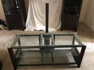 Dark expresso three glass shelf tv stand for Sale in Pumpkin Center, CA
