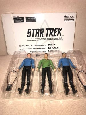Art Asylum Star Trek Original Series Action Figures Wave One Kirk Spock Mccoy for Sale in Frisco, TX