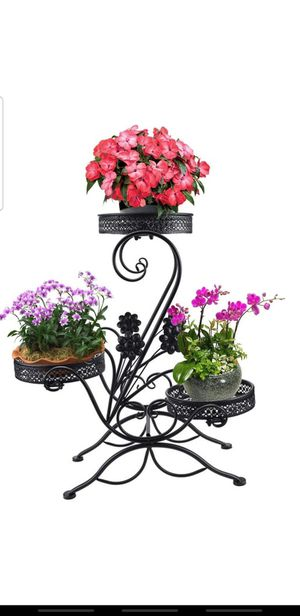 unho Plant Stand Flower Pot Shelf Indoor 4 Tier Iron Stand Outdoor Displaying Plant Holder for Garden Patio Decors, for Sale in Aurora, CO