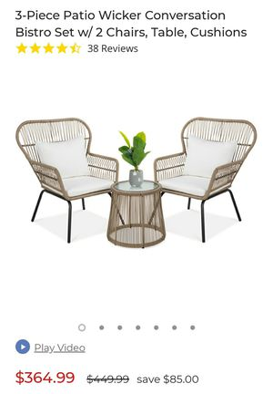 3 piece wicker bistro set with glass table for Sale in Brook Park, OH