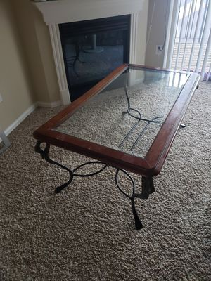 Glass coffee table with wood border for Sale in Denver, CO