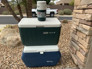 Coolers and water jug for Sale in Phoenix, AZ