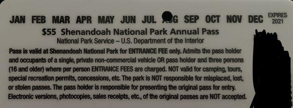 Shenandoah National Park Annual Pass valid till Aug 2021