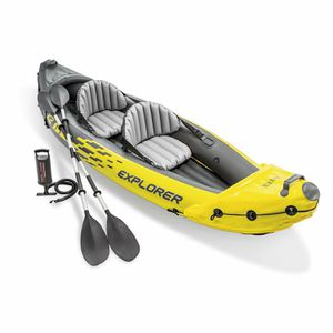 BRAND NEW Intex Explorer K2 Kayak, 2-Person Inflatable Kayak Set with Aluminum Oars and High Output Air Pump for Sale in The Bronx, NY