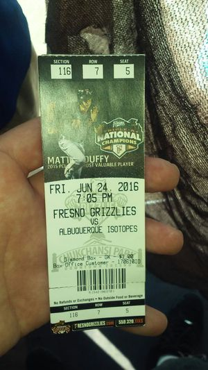 2Grizzly ticket 4 6/24/16 at 7:05 for Sale in Fresno, CA