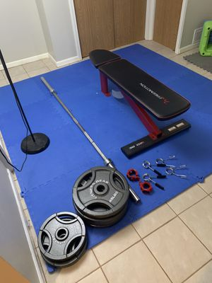 Weights, barbell, clips, & bench for Sale in Chicago, IL