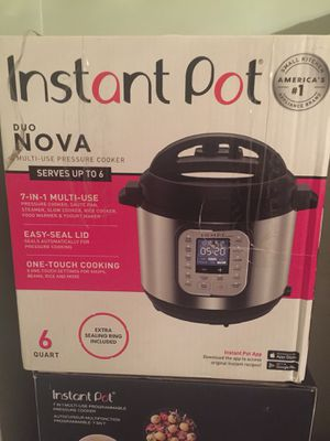 Instant Pot Duo Nova 6 quart 7-in-1 One-Touch Multi-Use Programmable Pressure Cooker with New Easy for Sale in Euclid, OH