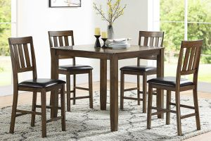 5 PIECE WALNUT FINISH BREAKFAST KITCHENETTE COUNTER HEIGHT DINING TABLE SET for Sale in Riverside, CA