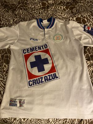 Cruz Azul retro jersey with Benjamin Galindo name and number size is xl in good condition for Sale in Perris, CA