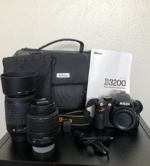 Nikon D3200 DX , 18-55 mm and 55-200mm Lenses and with all accessories for Sale in Dallas, TX