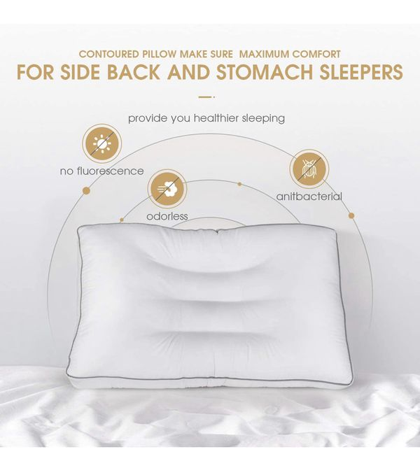 Cervical Pillow for Sleeping,Contour Orthopedic Pillow Bed Pillows for Neck Pain Relief,Adjustable Neck Pillow Support for Side,Back and Stomach Slee