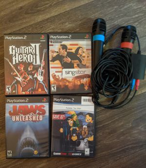 PS2 games and microphones for Sale in Raleigh, NC