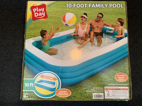 Brand New Play Day 10ft Rectangular Inflatable Family Pool In hand!