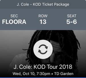 J Cole Front Row Tickets for Sale in Boston, MA