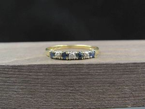 Size 10 10K Gold Blue Topaz & Diamond Chip Band Ring Vintage Estate Wedding Engagement Anniversary Gift Idea Beautiful Elegant Unique for Sale in Lynnwood, WA