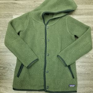 Patagonia Shearling Fleece Hooded Cardigan Forest Green Womens Medium for Sale in Westminster, CA