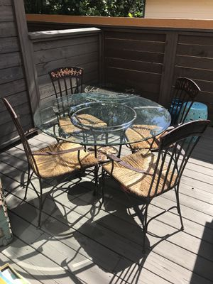 Wrought Iron Glass Table with 4 Matching Chairs for Sale in Tampa, FL