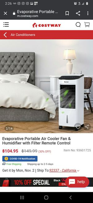 New Evaporative Portable Air Cooler Fan & Humidifier with Remote Control for Sale in Norwalk, CA