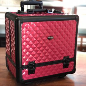 BRAND NEW BEAUTY GIFTS PROFESSIONAL ARTIST ROLLING MAKE UP BARBER HAIR NAIL LASH STYLIST SKIN TATTOO EXPERT TRAIN CASE PORTABLE TRAVEL WHEELS STORAGE for Sale in Riverside, CA