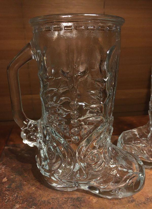 Vintage Glass Beer Mugs Embossed Cowboy Boot Pair