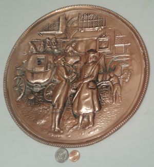 """Vintage Metal Copper Wall Hanging Plate, 11"""" Wide, Horse Drawn Carriage, Home Decor, Wall Hanging Display, Shelf Display, This Can Be Shined Up Even for Sale in Lakeside, CA"""