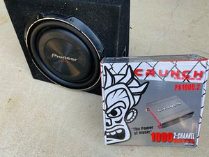 $150 no less / 12 inch Pioneer Shallow Sub / truck sub box / new Amp for Sale in Sanger, CA