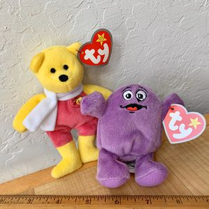 McDonalds TY Beanie Babies Teenie Plush Minis, 2004 Birdie The Bear 25 Years Of Happiness & 2009 Grimace 30 Years Of Happiness for Sale in Elizabethtown, PA