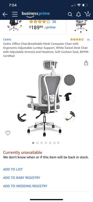 Cedric office chair, breathable, ergonomic for Sale in Shelton, CT
