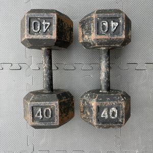 DUMBBELLS WEIGHTS DUMBELLS HEX IRON CAST CURL PAIR 40LB 40 POUNDS for Sale in Long Beach, CA
