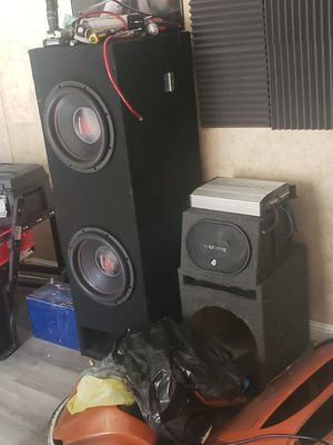 Will trade for a good running vehicle!!!!Pro massive audio system top of the line 12x2 custom box used 1 month 2x6x9 boxed 2 batteries hifonics amps for Sale in Eustis, FL