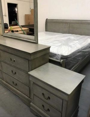 (Brand New In Boxes) Queen Size Gray Sleigh Bedroom Set for Sale in Atlanta, GA