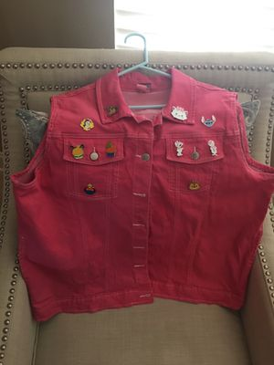 Denim Vest With 10 Disney Trading Pins for Sale in Murrieta, CA