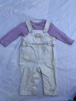 Baby girls 2 piece lot purple & khaki overalls size 12 months snap crotch for Sale in Painesville, OH